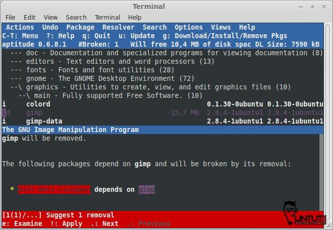 Aptitude GUI mode remove package