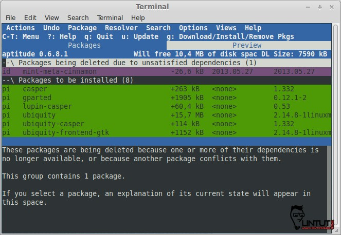 Aptitude GUI mode upgrade packages