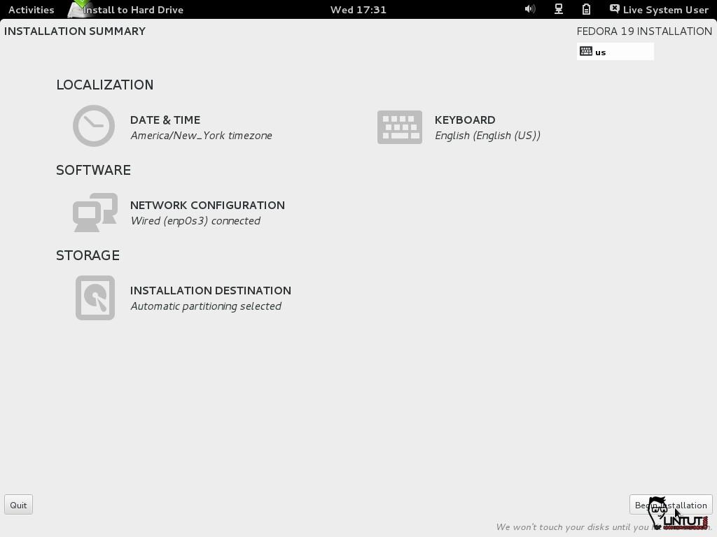 Fedora 19 Installation Begins