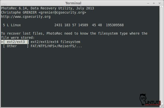 Photorec, Filesystem Selection