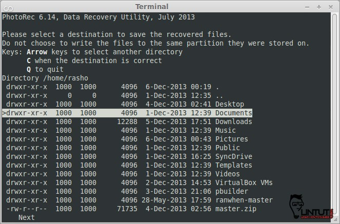 Select destination to save recovered files