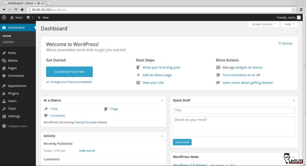 Welcome to WordPress 3.8 Dashboard