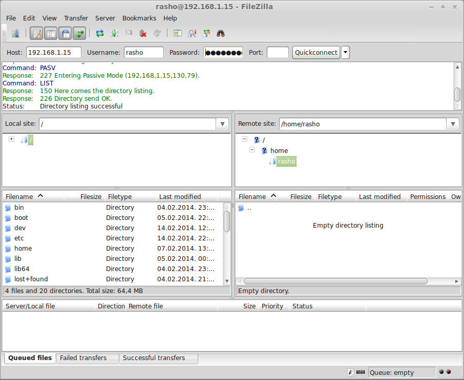 Connect to ftp server using FileZilla