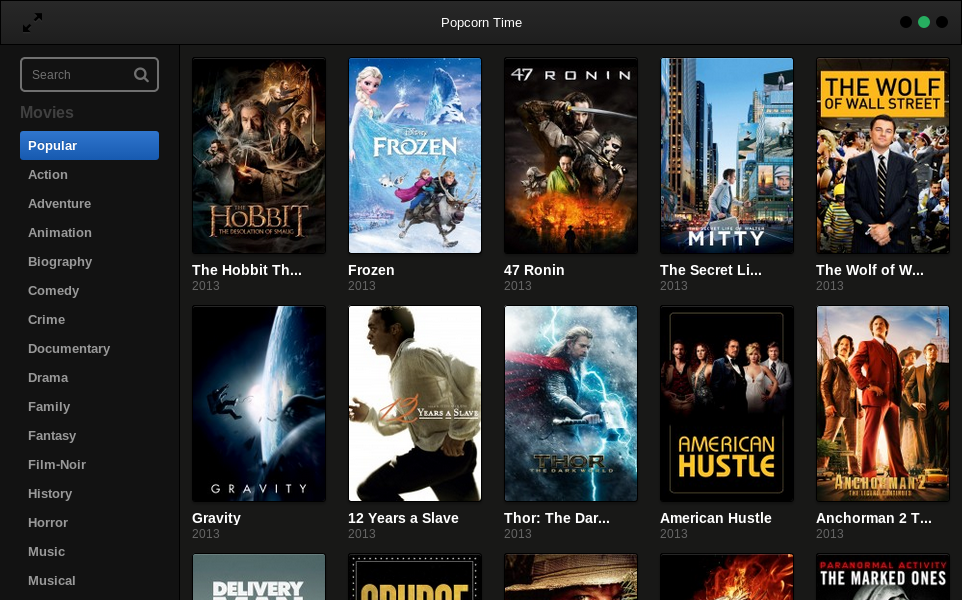 Popcorn Time screen