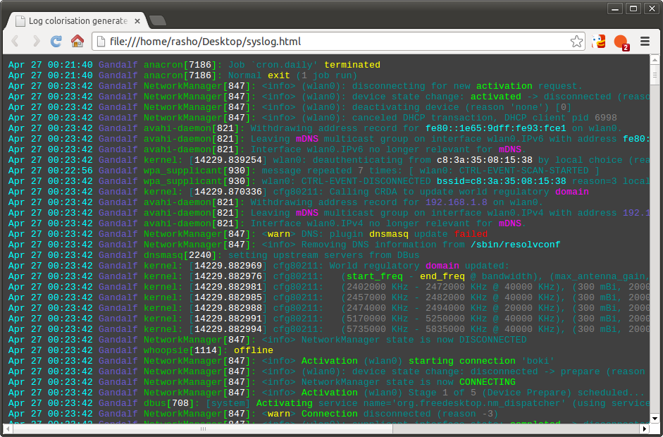 cczz export logfile in html