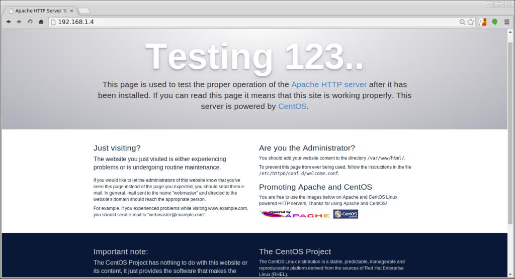 CentOS 7 default apache page