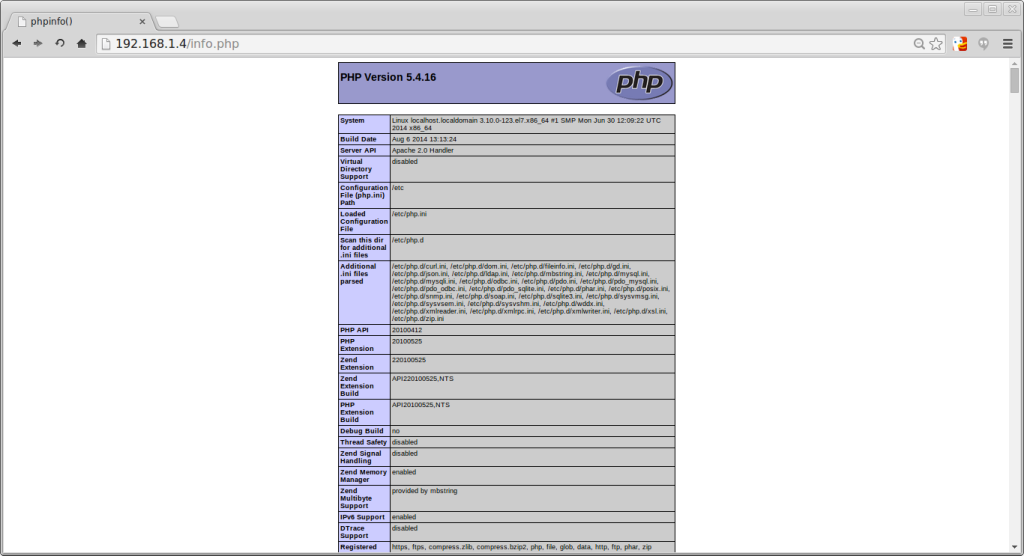 Example info.php page