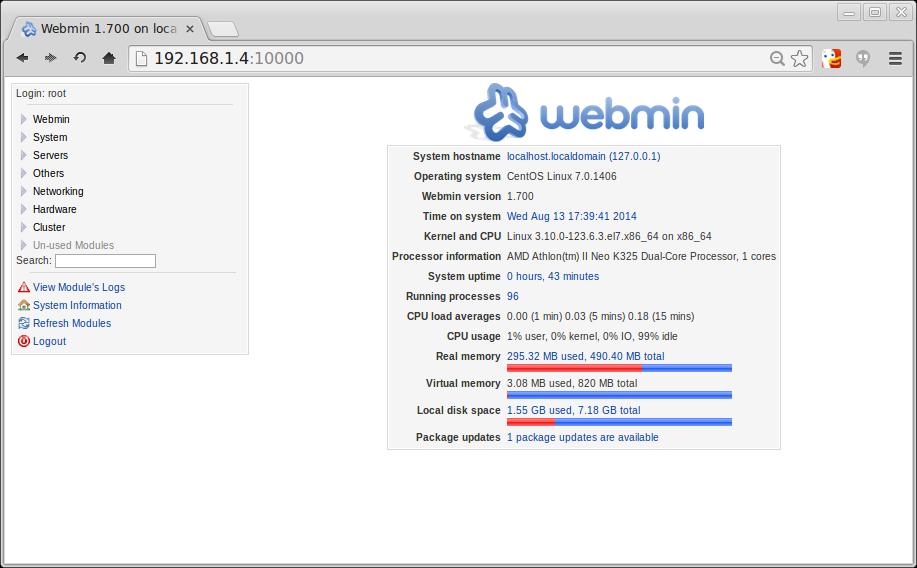 tela Webmin