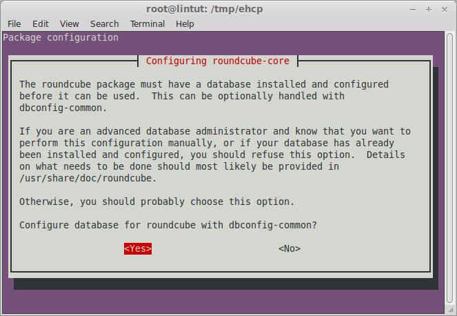 configure roundcube database