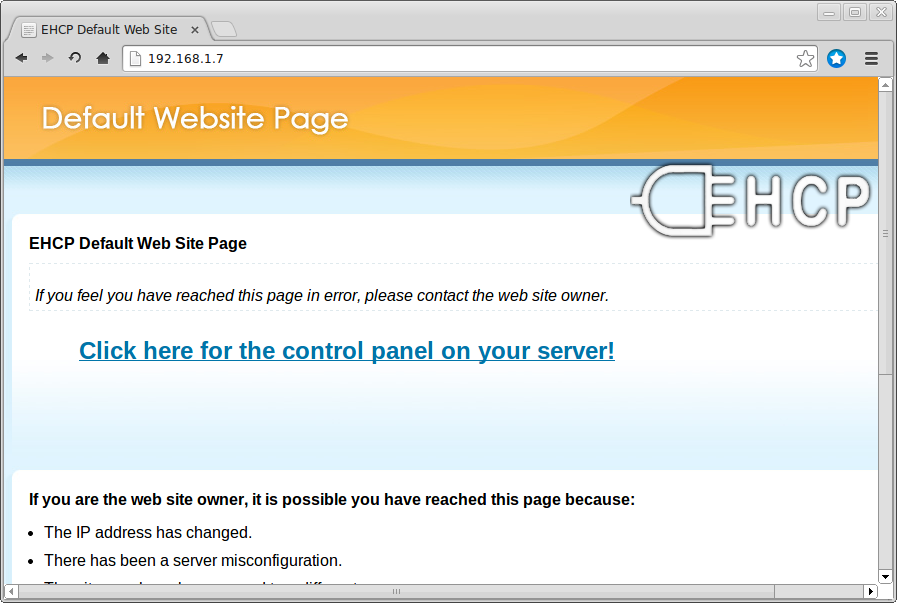 EhCP default page