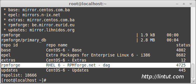 Verify is enabled RPMForge repository