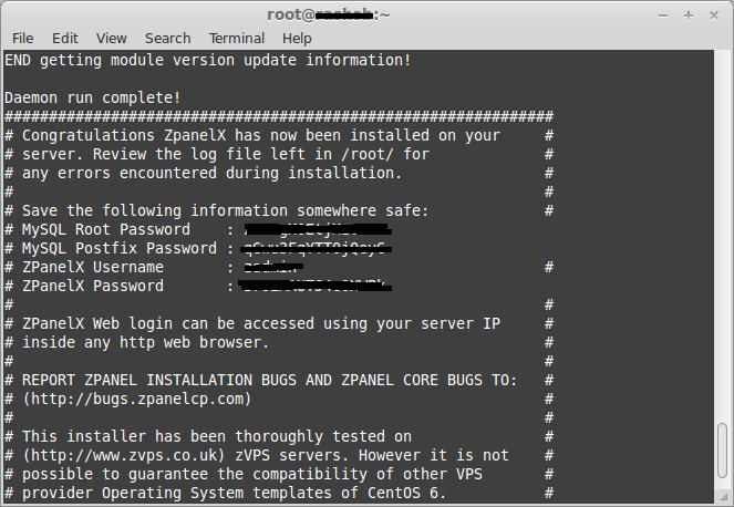 End zPanel installation