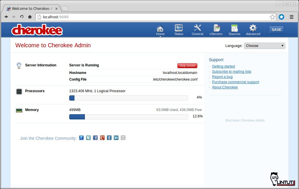 Cherokee admin web interface