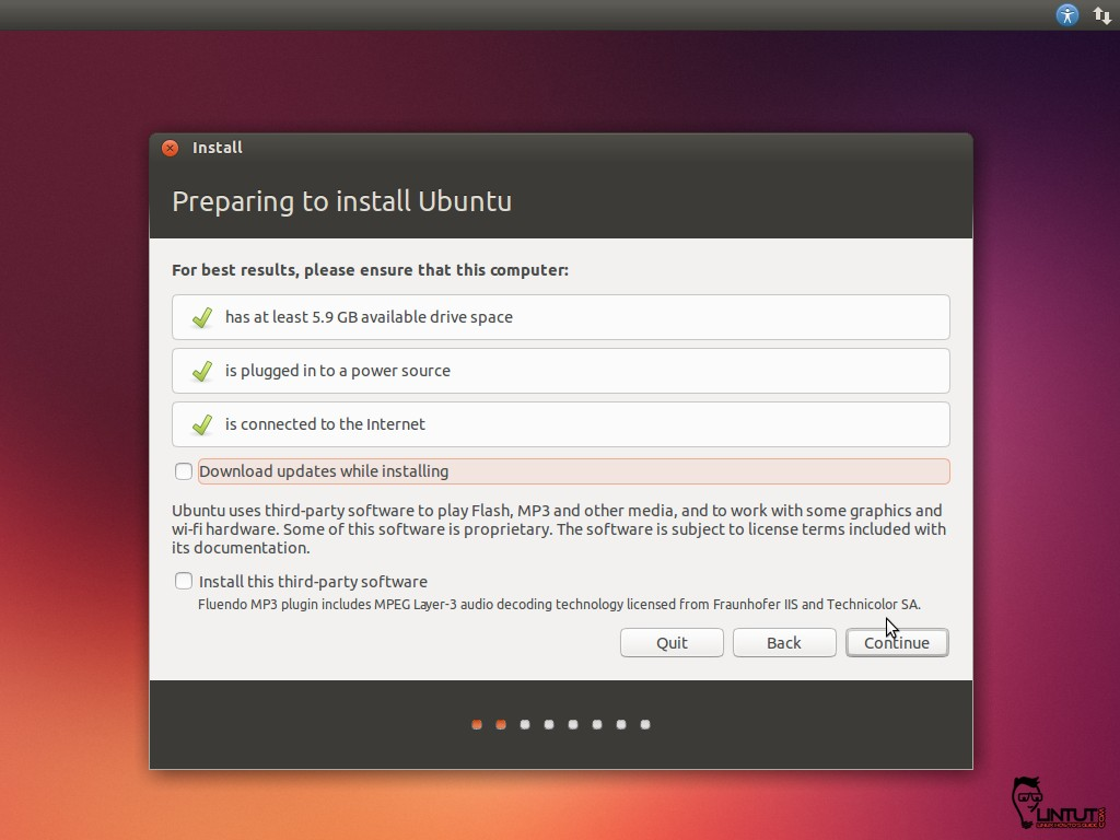 Preparing to install Ubuntu