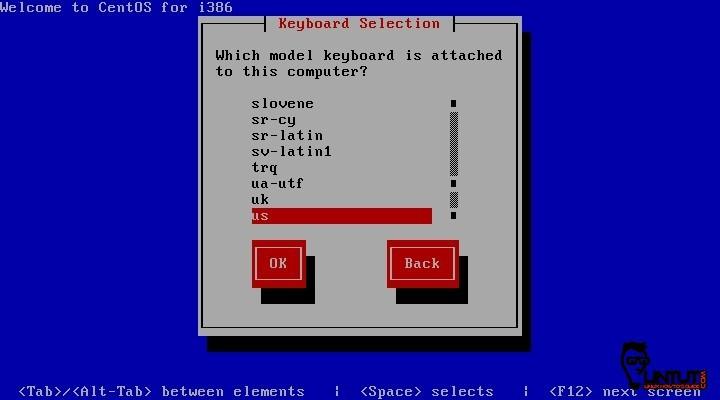 CentOS 6.5 keyboard selection