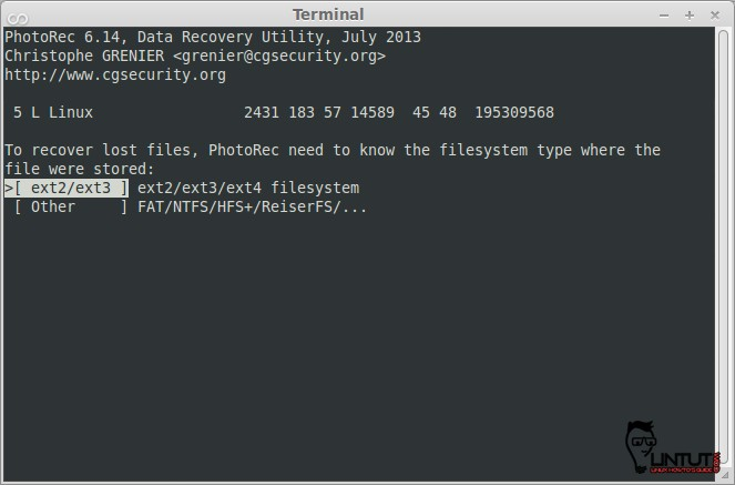 Photorec, Filesystem Selection