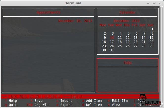 Install Calcurse (Text based personal organiser) on Ubuntu/Mint Linux