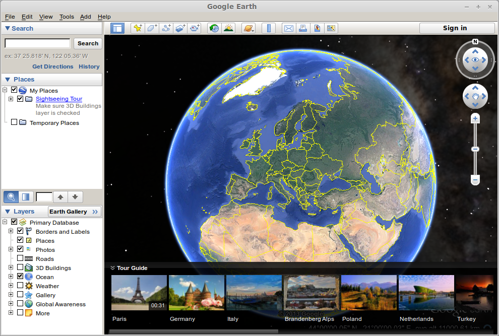 Google Earth screen
