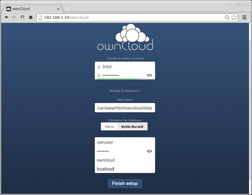 Setup ownCloud