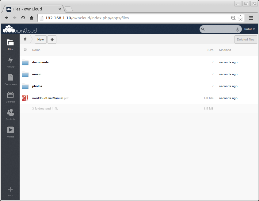 ownCloud dashboard
