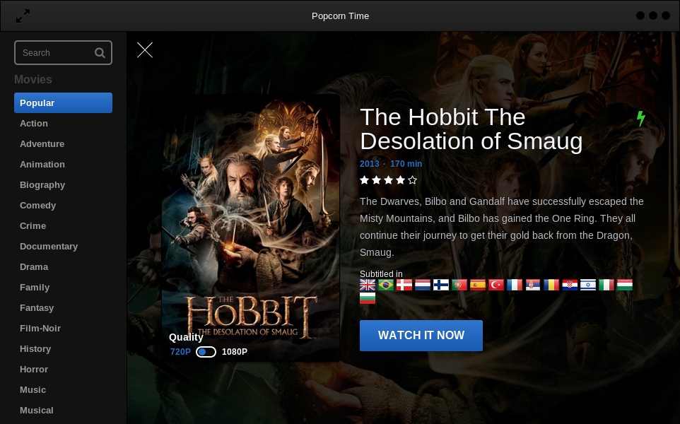 Popcorn Time movie descripction screen