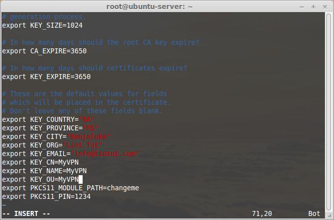 Change /etc/openvpn/easy-rsa/vars file