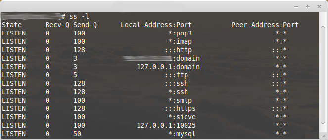 Display all open network ports
