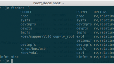 Photo of Linux findmnt command (find mounted file systems)