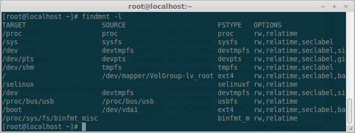 Linux findmnt command (find mounted file systems)