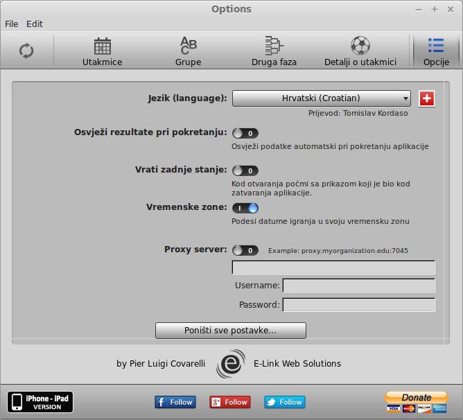 iCup 2014 brazilian settings screen