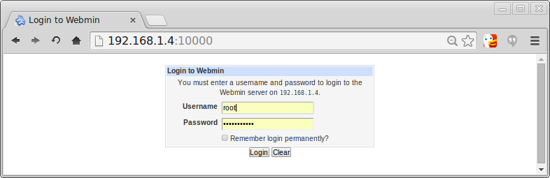 Webmin login screen