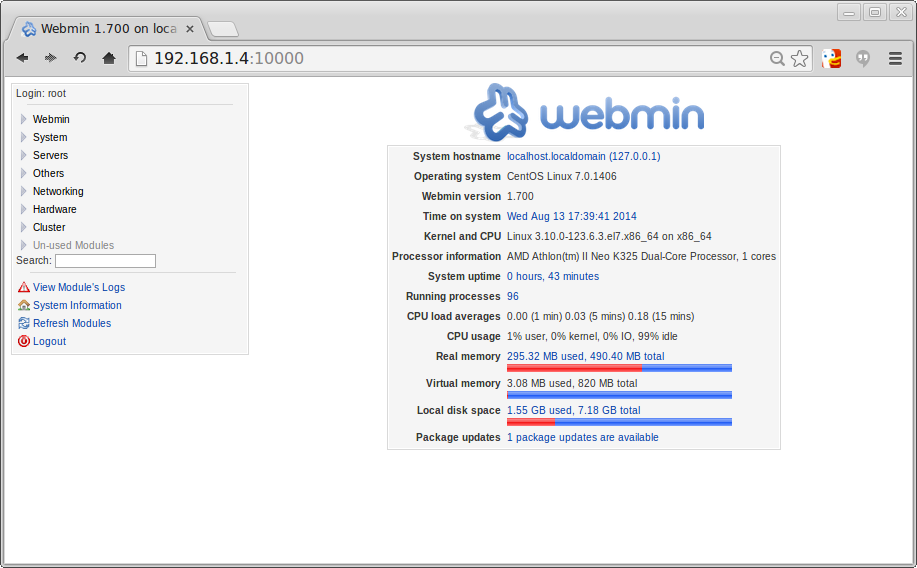 Webmin screen