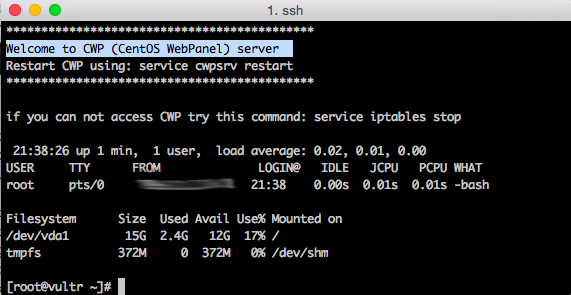 Welcome to CWP (CentOS WebPanel) server