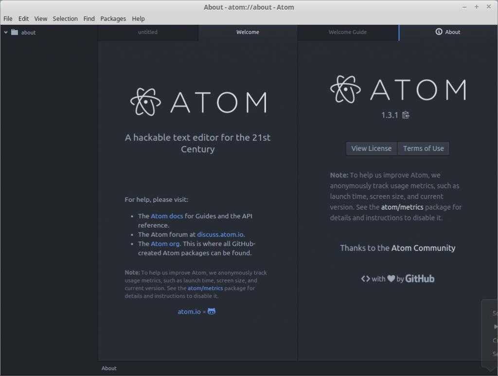 Atom v1.3.1 Hackable text editor