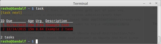 Taskwarrior - command line todo app