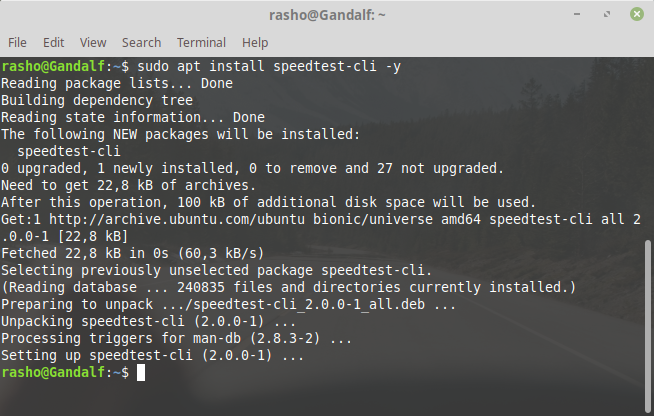 install speedtest-cli