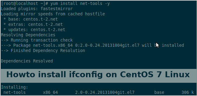 Howto install ifconfig on CentOS 7 Linux