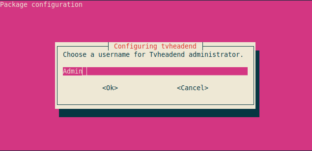 Choose a username for Tvheadend administrator