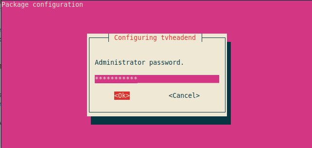 Set Tvheadend Administrator password