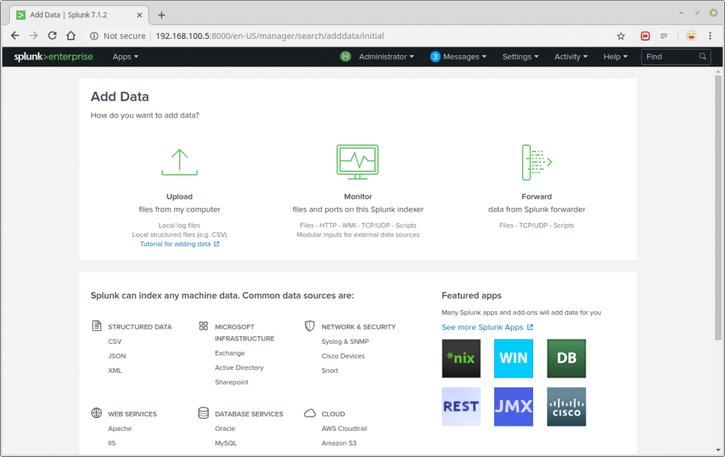 Splunk Add Data screen