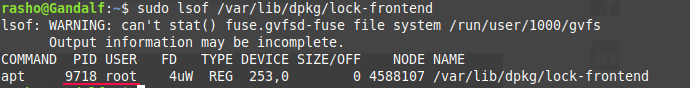 find out which process that owns the lock file