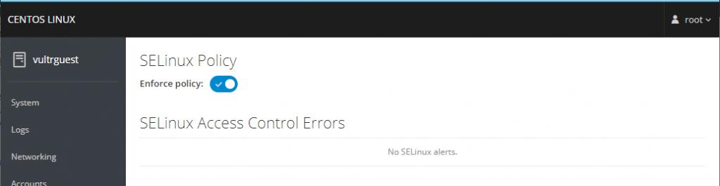 Cockpit SELinux Page