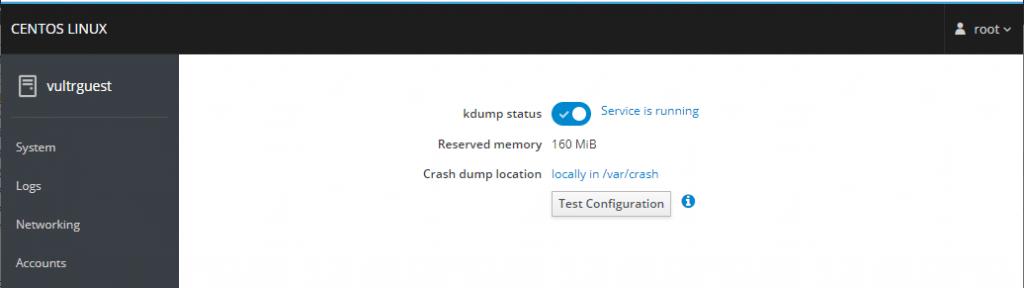 Kernel dump page