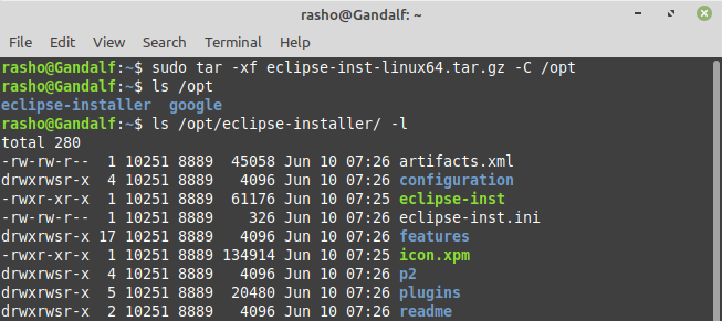 Extract eclipse installation file
