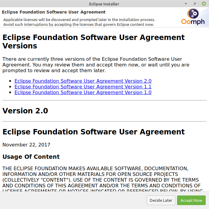 Accept the Eclipse Foundation Software User Agreement.