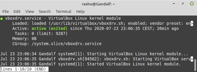 VirtualBox Service Status